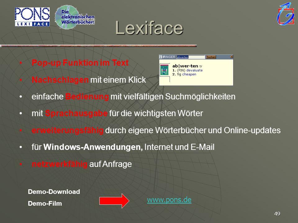 Lexiface Pop-up Funktion im Text Nachschlagen mit einem Klick