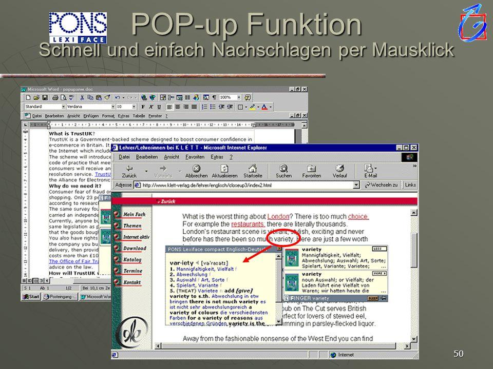 POP-up Funktion Schnell und einfach Nachschlagen per Mausklick