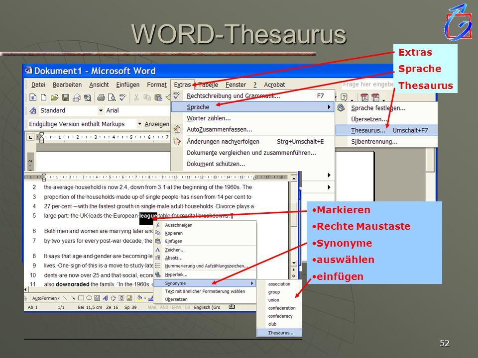 WORD-Thesaurus Word verfügt über eine Thesaurusfunktion