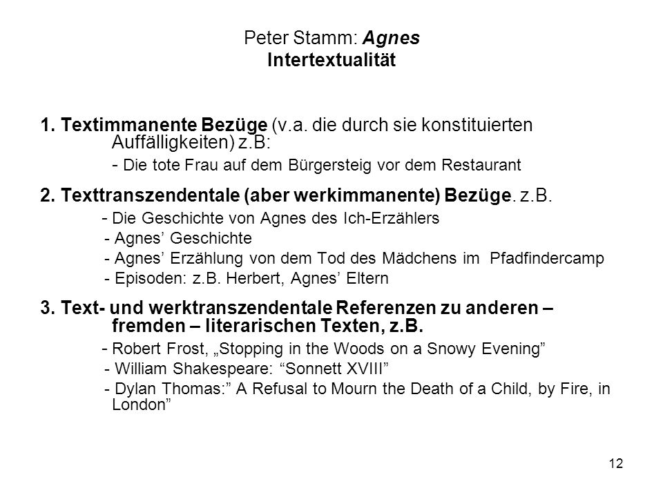 Peter Stamm: Agnes Intertextualität