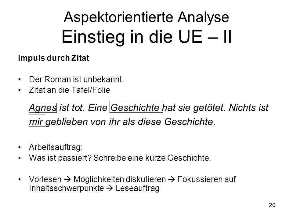 Aspektorientierte Analyse Einstieg in die UE – II