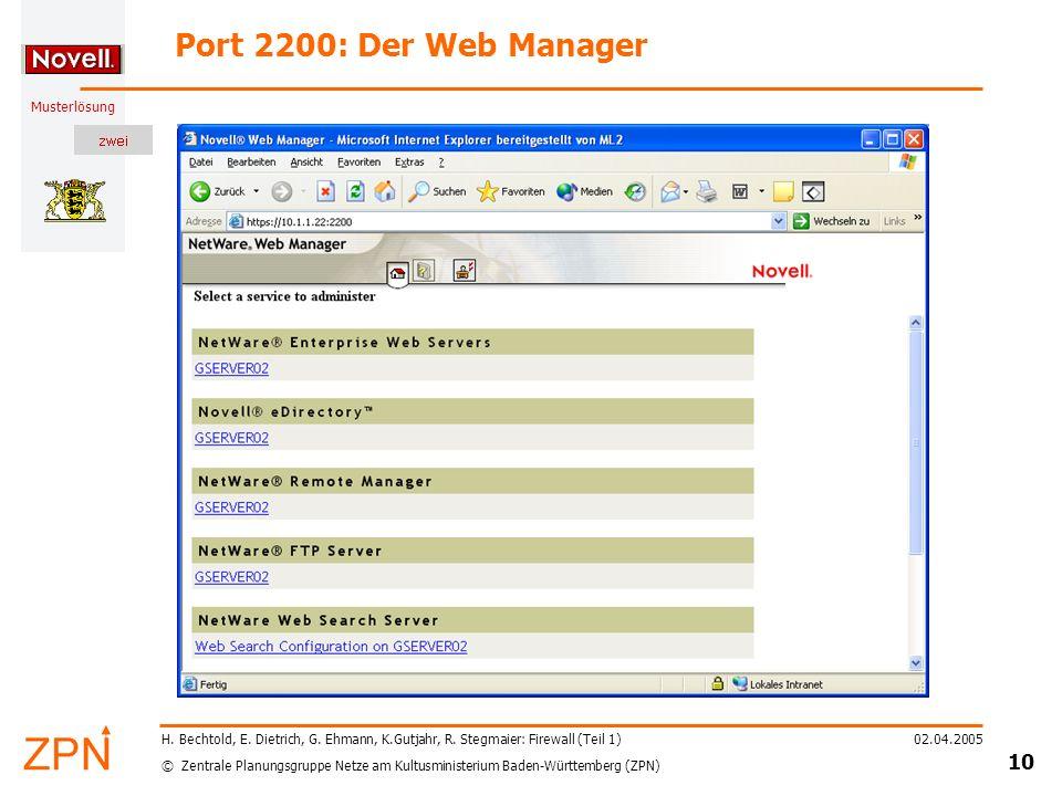 Port 2200: Der Web Manager H. Bechtold, E. Dietrich, G. Ehmann, K.Gutjahr, R. Stegmaier: Firewall (Teil 1)