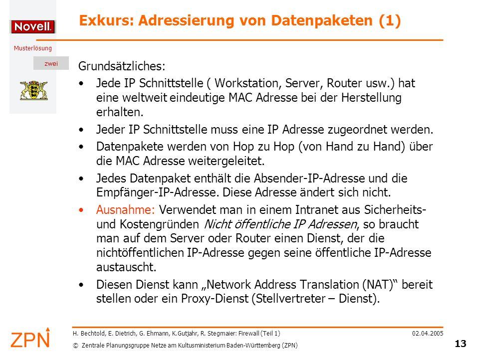 Exkurs: Adressierung von Datenpaketen (1)