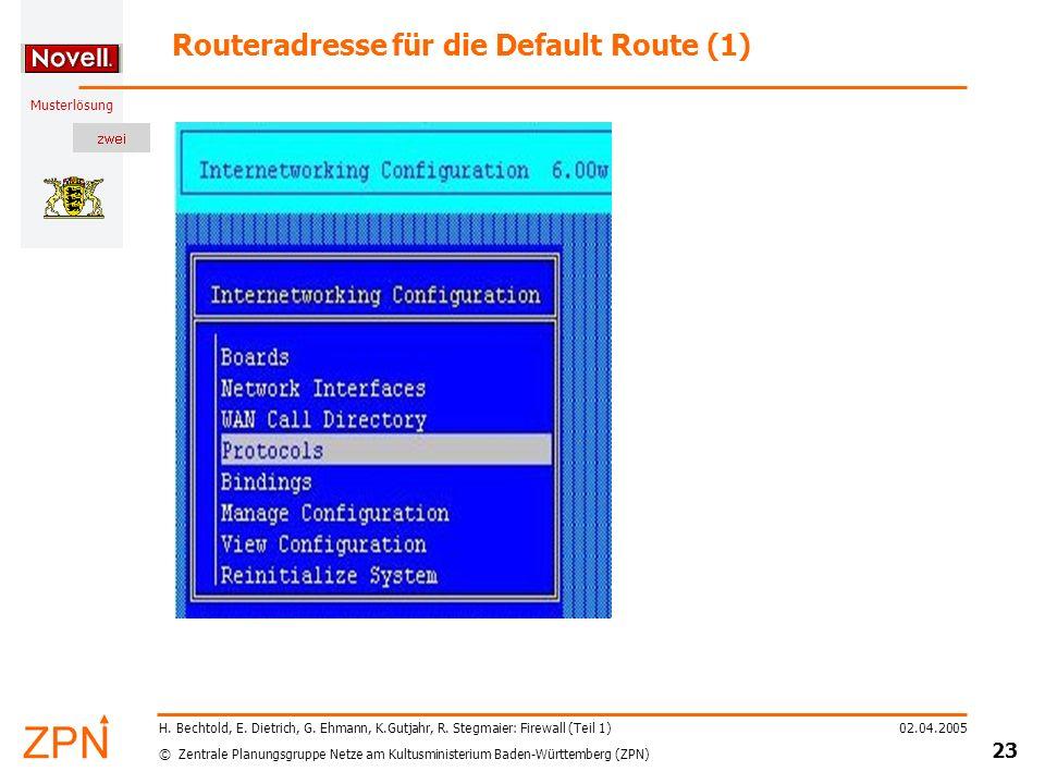 Routeradresse für die Default Route (1)