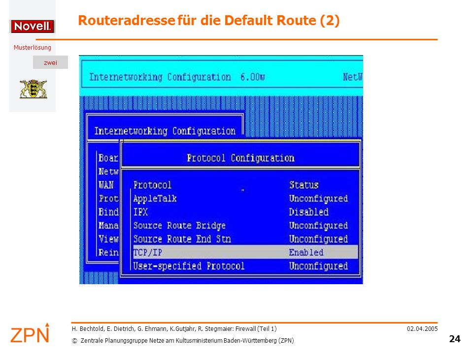 Routeradresse für die Default Route (2)