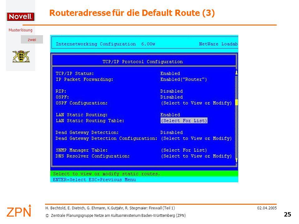 Routeradresse für die Default Route (3)