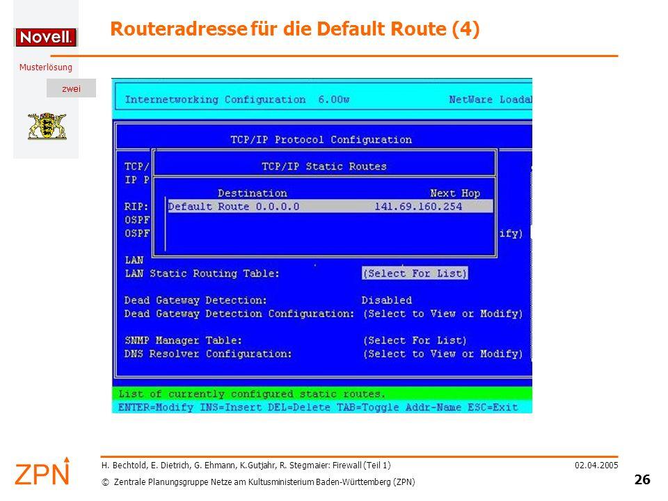Routeradresse für die Default Route (4)