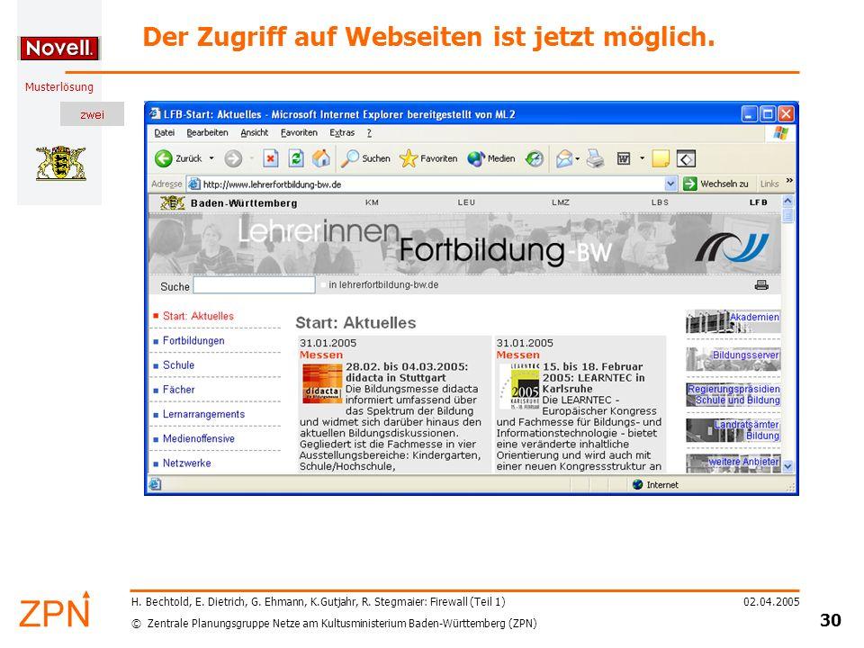 Der Zugriff auf Webseiten ist jetzt möglich.