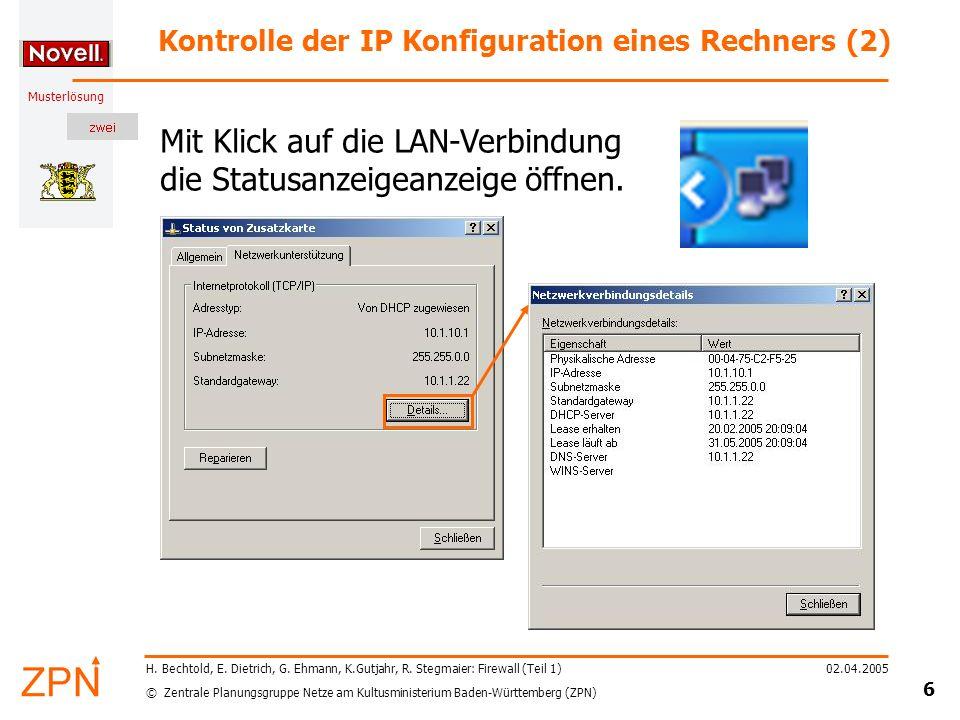 Kontrolle der IP Konfiguration eines Rechners (2)