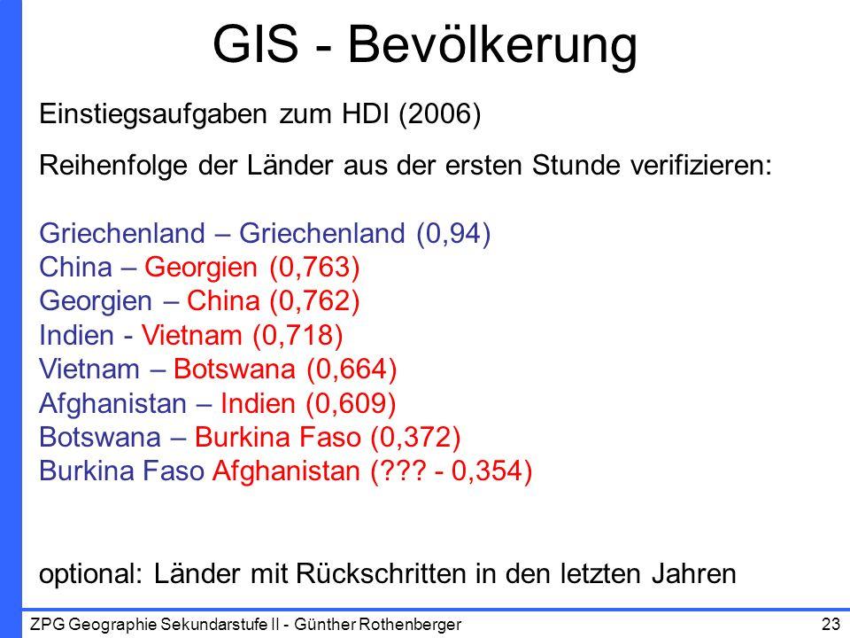 GIS - Bevölkerung Einstiegsaufgaben zum HDI (2006)