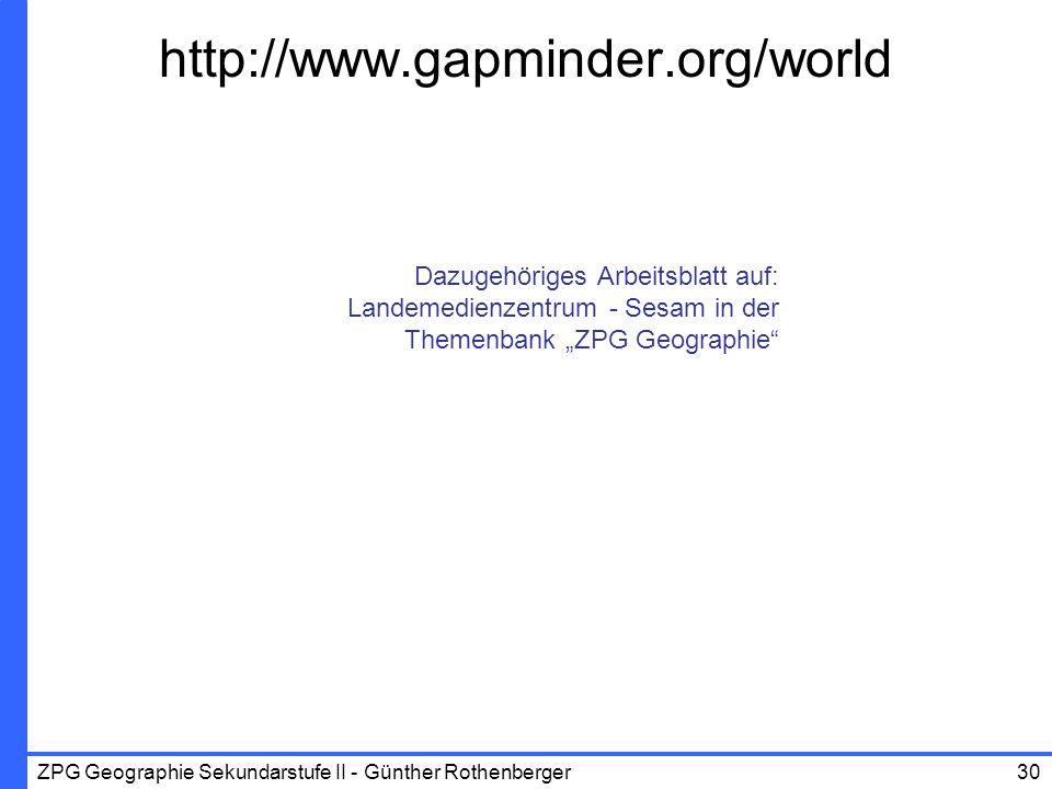 """http://www.gapminder.org/world Dazugehöriges Arbeitsblatt auf: Landemedienzentrum - Sesam in der Themenbank """"ZPG Geographie"""