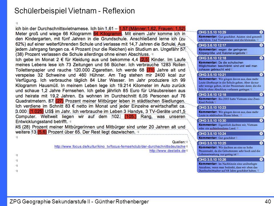 Schülerbeispiel Vietnam - Reflexion
