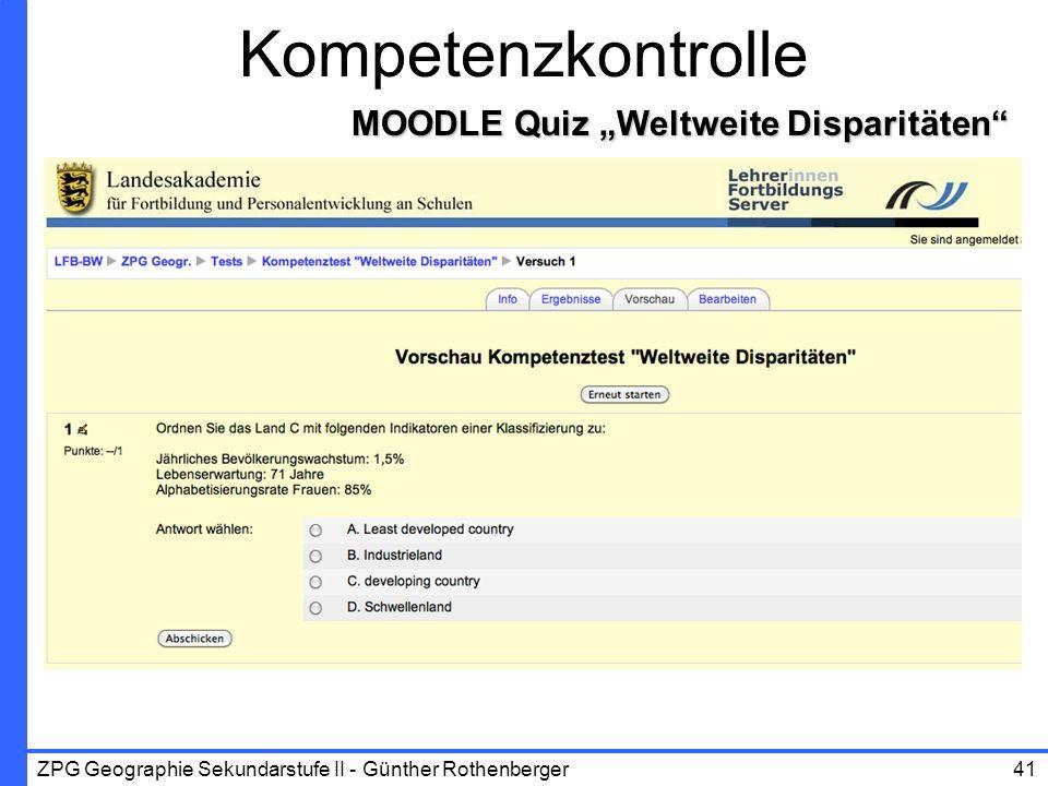 """Kompetenzkontrolle MOODLE Quiz """"Weltweite Disparitäten"""