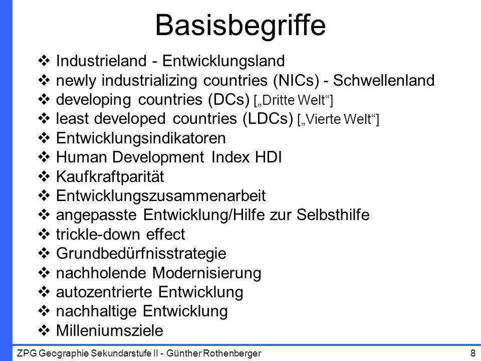 Basisbegriffe Industrieland - Entwicklungsland