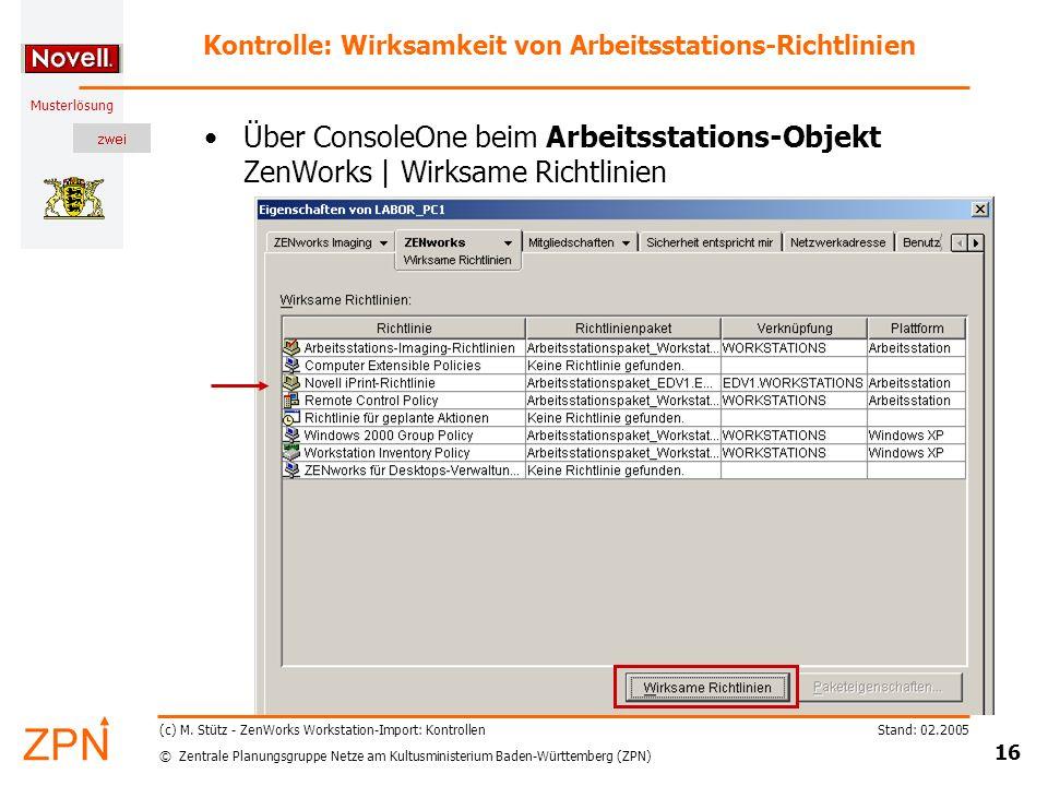 Kontrolle: Wirksamkeit von Arbeitsstations-Richtlinien