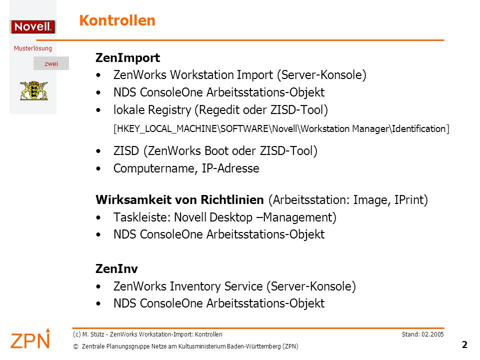 Kontrollen ZenImport ZenWorks Workstation Import (Server-Konsole)