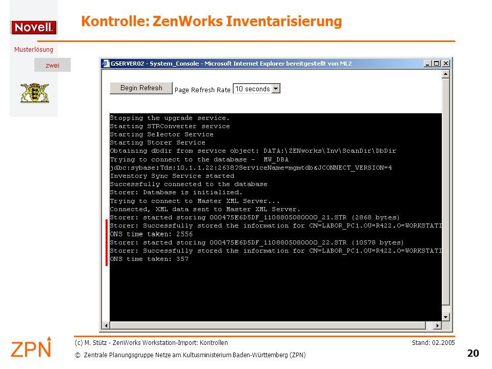 Kontrolle: ZenWorks Inventarisierung