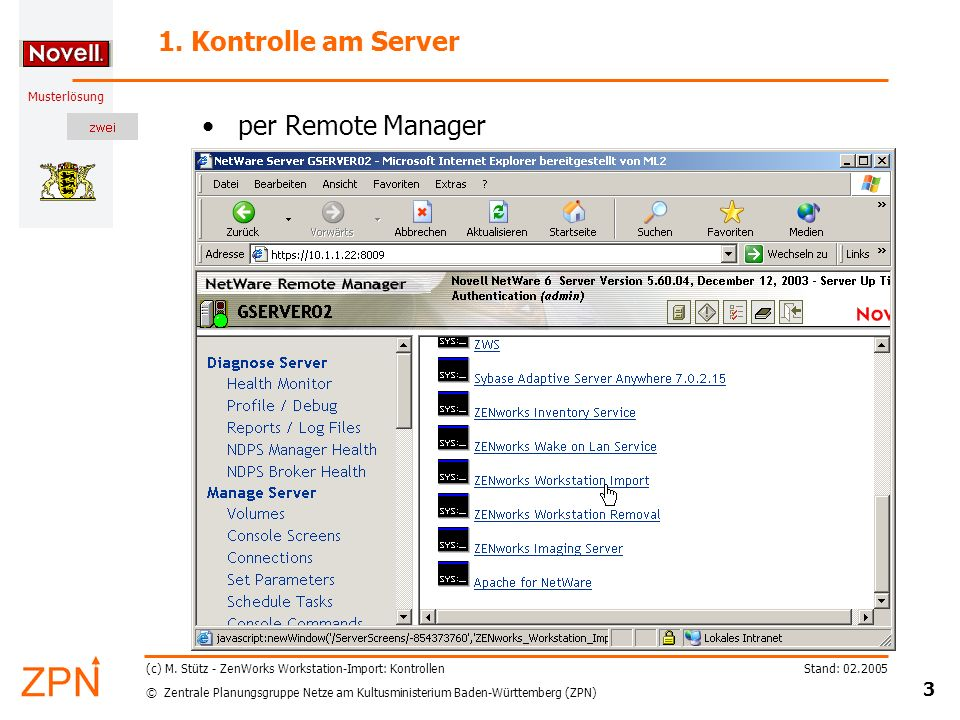 1. Kontrolle am Server per Remote Manager