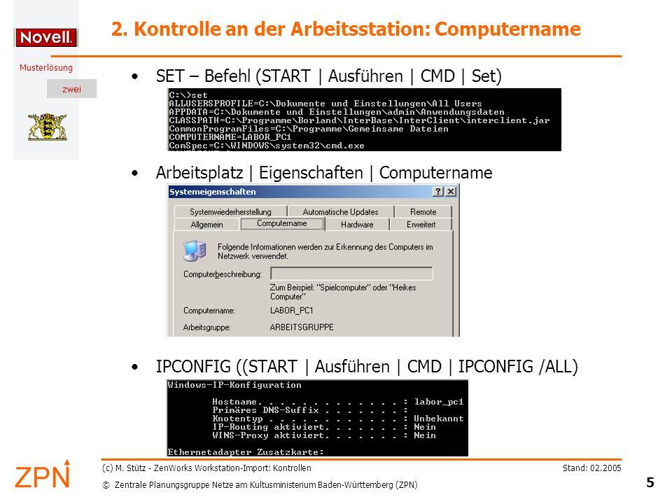 2. Kontrolle an der Arbeitsstation: Computername