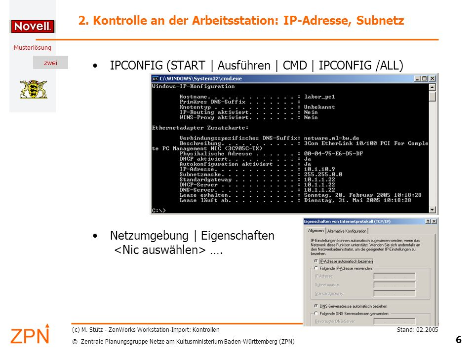 2. Kontrolle an der Arbeitsstation: IP-Adresse, Subnetz
