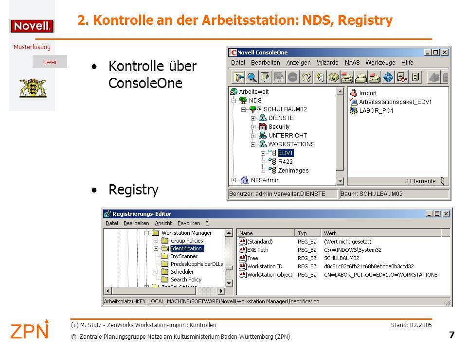 2. Kontrolle an der Arbeitsstation: NDS, Registry
