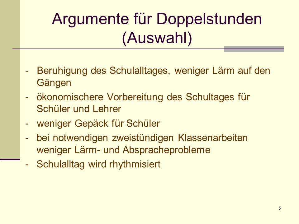Argumente für Doppelstunden (Auswahl)