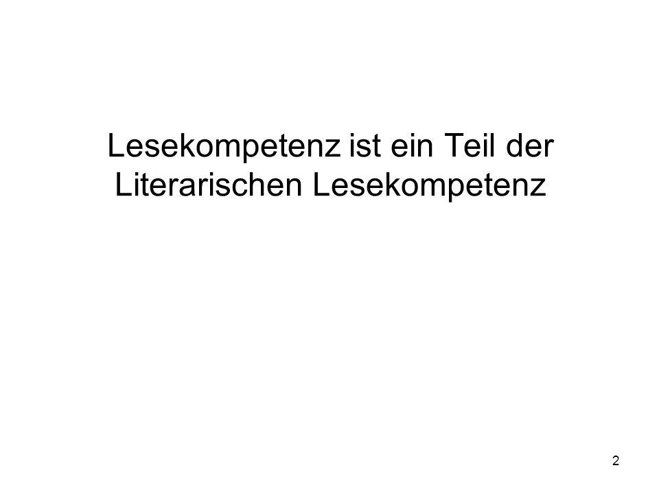 Lesekompetenz ist ein Teil der Literarischen Lesekompetenz