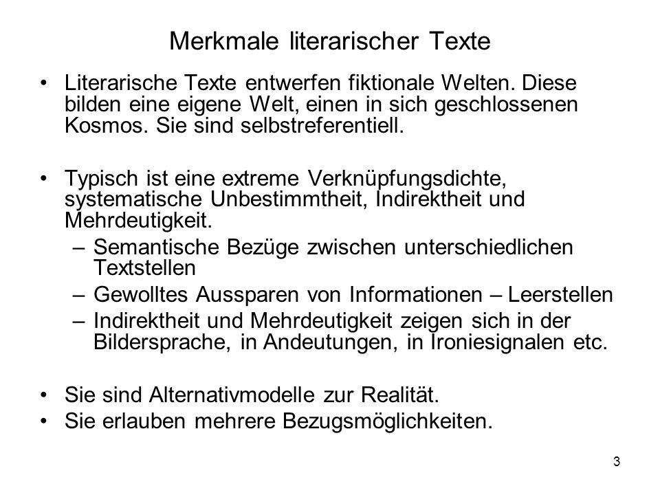 Merkmale literarischer Texte