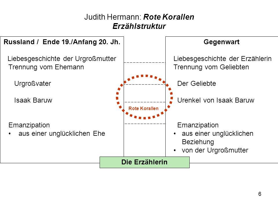 Judith Hermann: Rote Korallen Erzählstruktur
