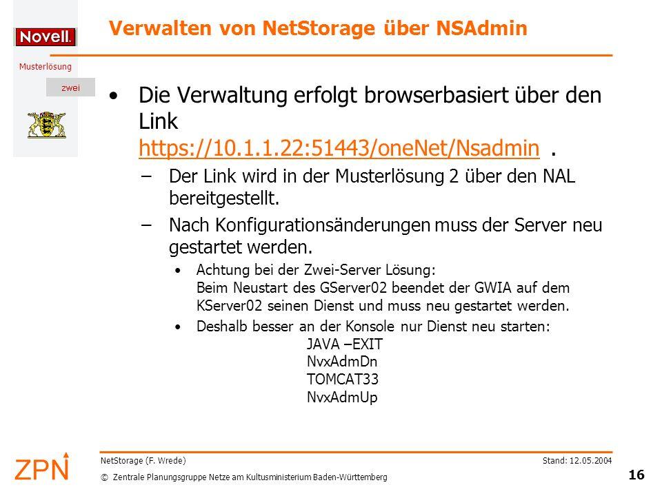 Verwalten von NetStorage über NSAdmin
