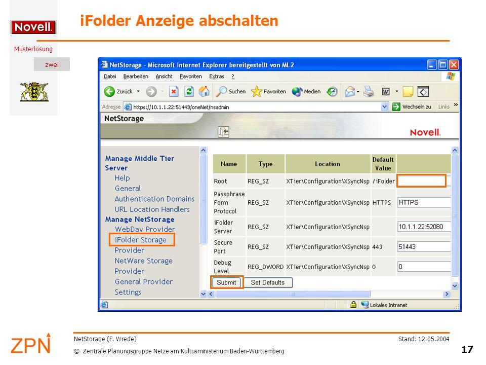iFolder Anzeige abschalten