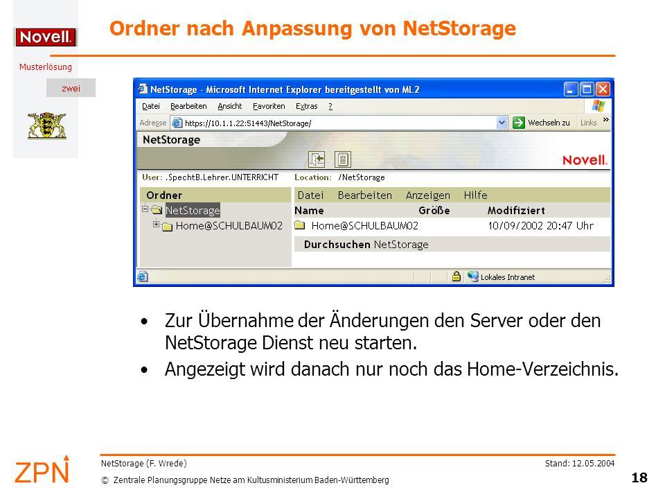 Ordner nach Anpassung von NetStorage