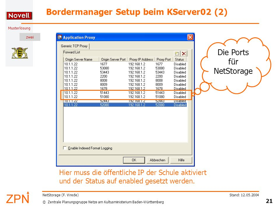 Bordermanager Setup beim KServer02 (2)