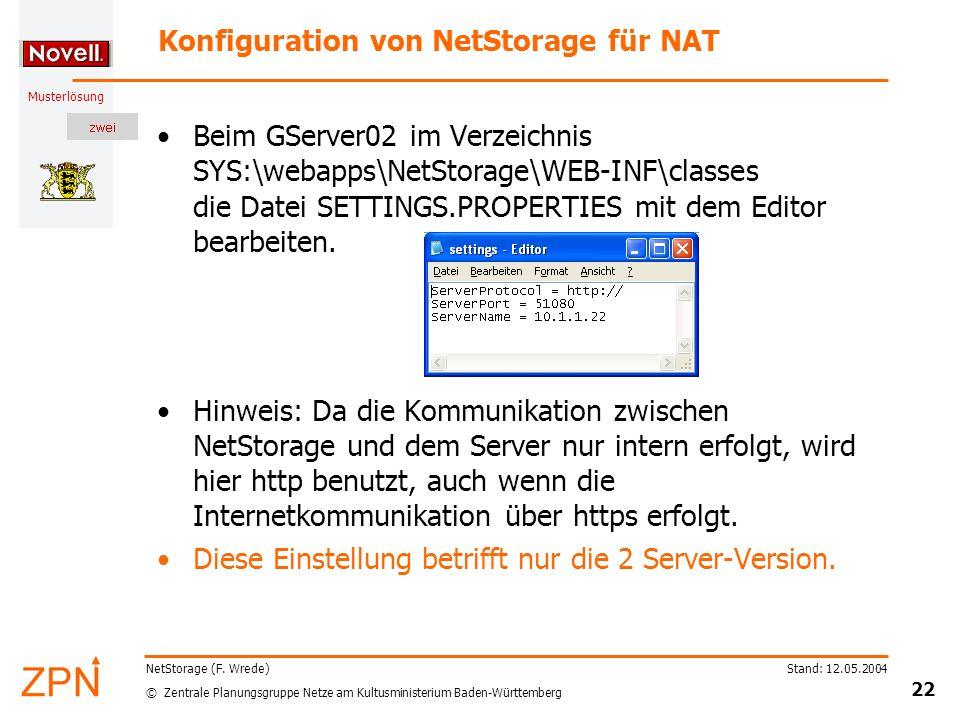 Konfiguration von NetStorage für NAT