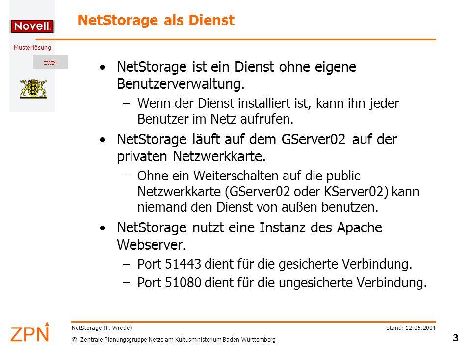 NetStorage ist ein Dienst ohne eigene Benutzerverwaltung.