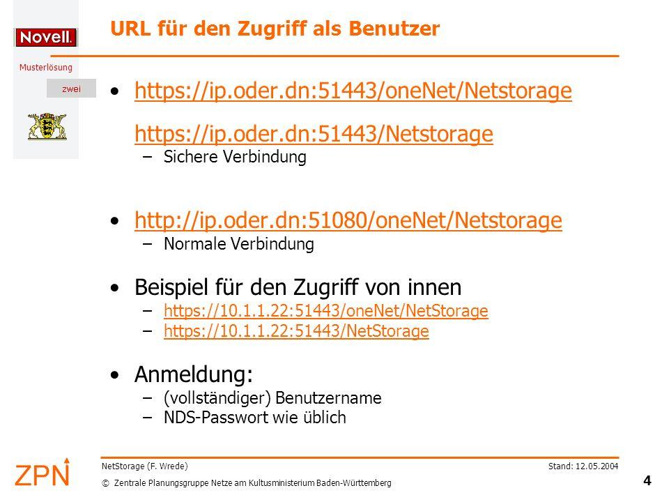 URL für den Zugriff als Benutzer