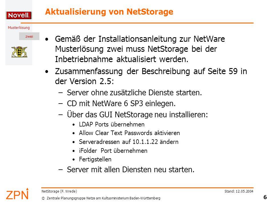 Aktualisierung von NetStorage