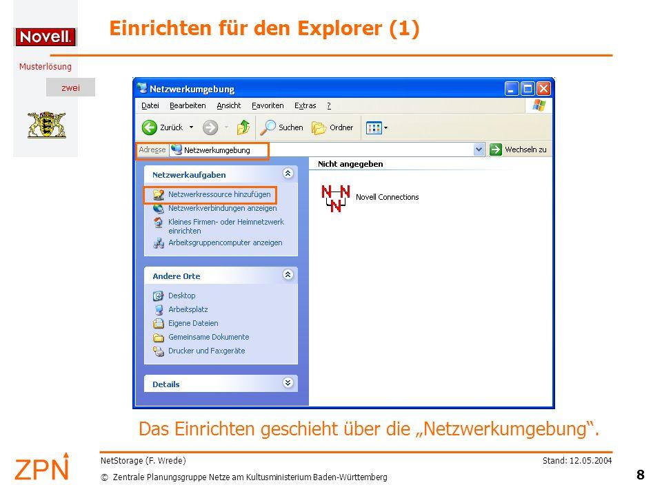 Einrichten für den Explorer (1)