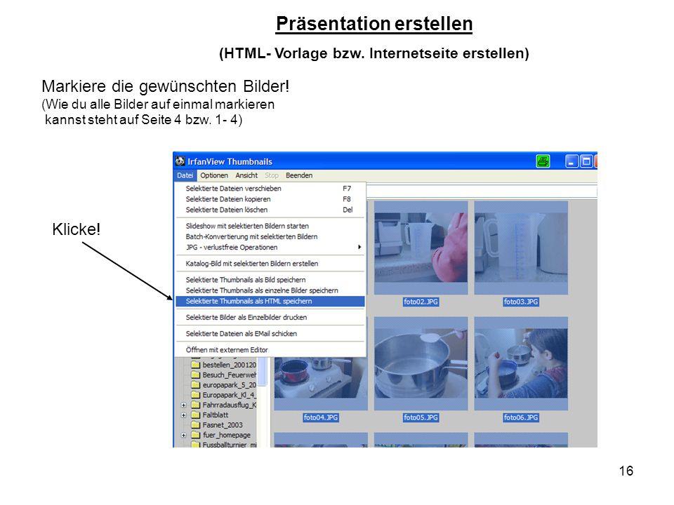 Präsentation erstellen (HTML- Vorlage bzw. Internetseite erstellen)