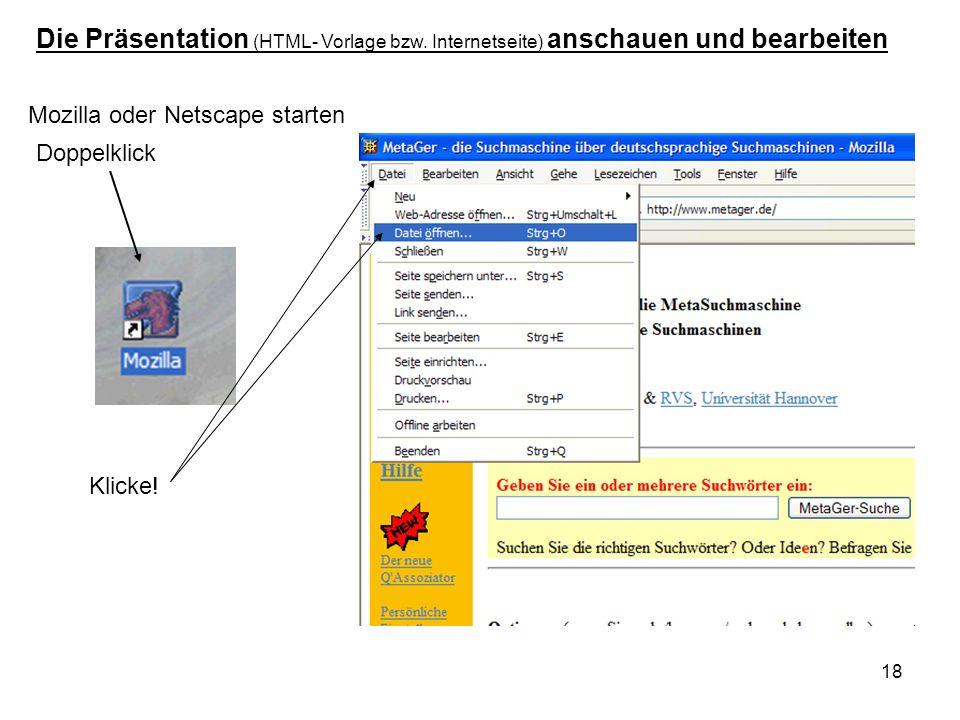 Die Präsentation (HTML- Vorlage bzw