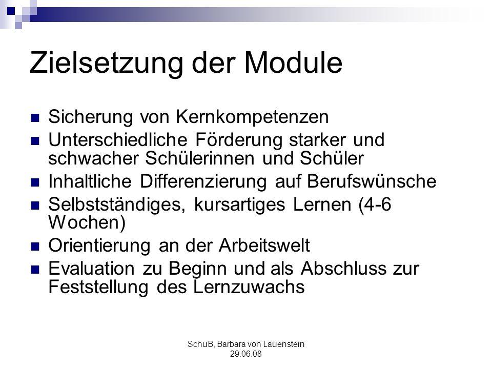 Zielsetzung der Module