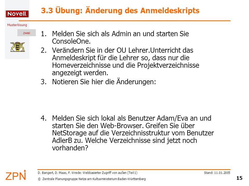 3.3 Übung: Änderung des Anmeldeskripts