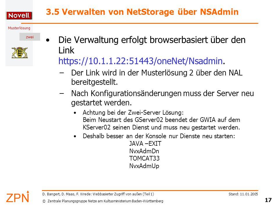 3.5 Verwalten von NetStorage über NSAdmin