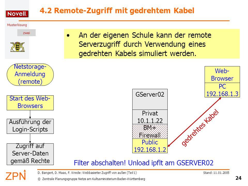 4.2 Remote-Zugriff mit gedrehtem Kabel