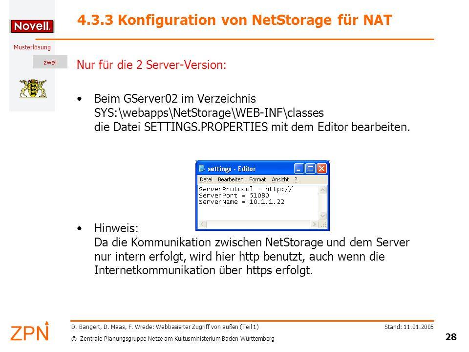4.3.3 Konfiguration von NetStorage für NAT