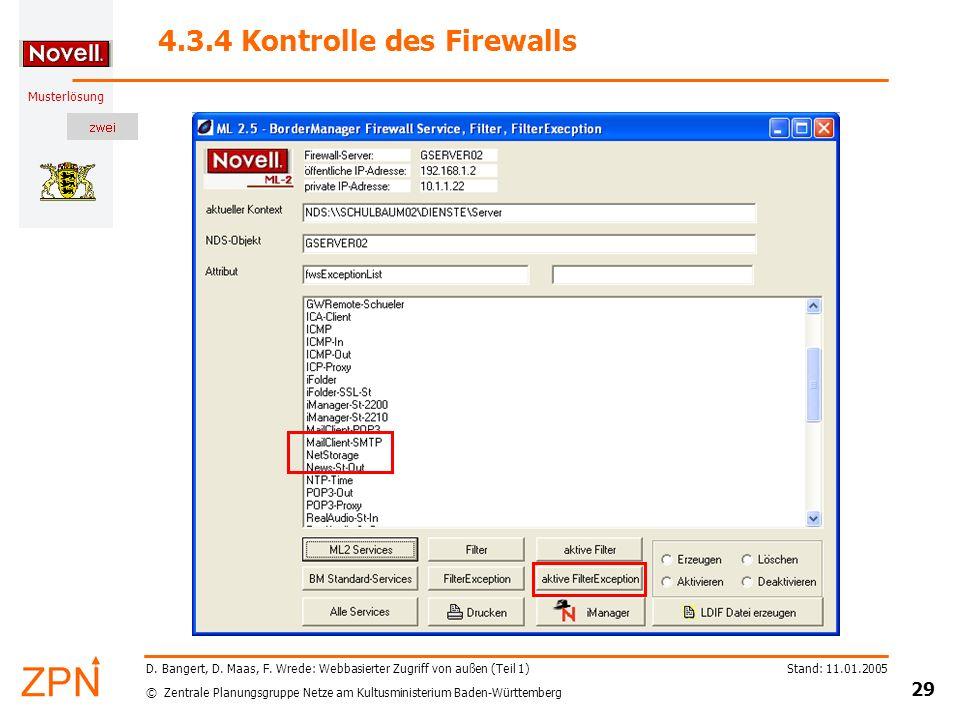 4.3.4 Kontrolle des Firewalls