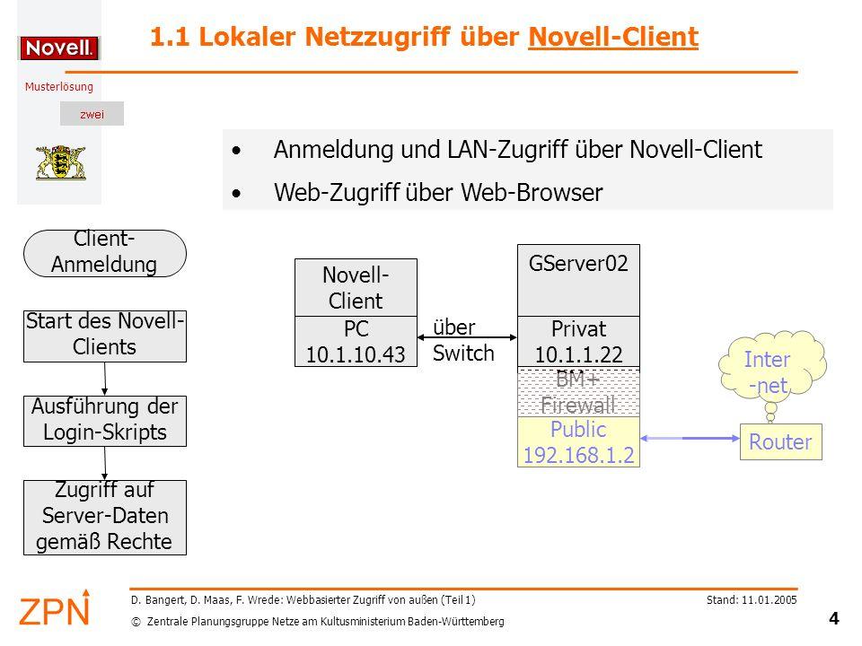 1.1 Lokaler Netzzugriff über Novell-Client