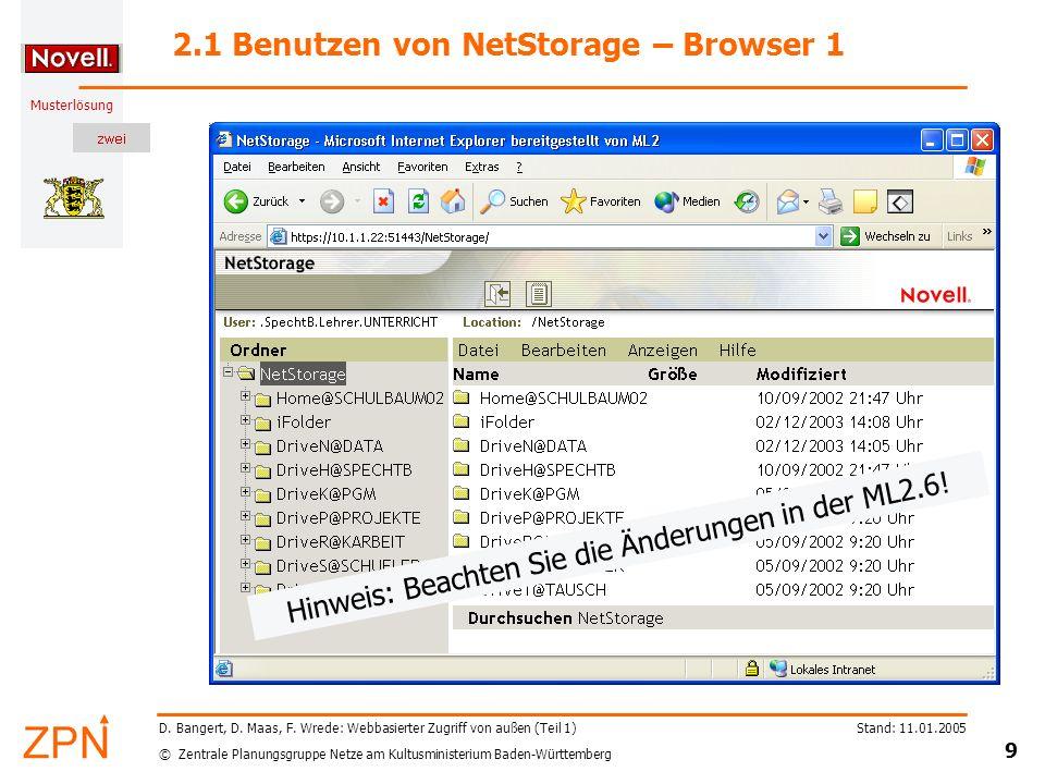 2.1 Benutzen von NetStorage – Browser 1