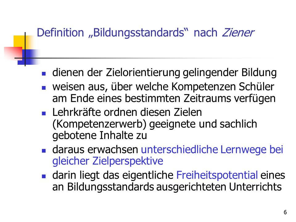 "Definition ""Bildungsstandards nach Ziener"