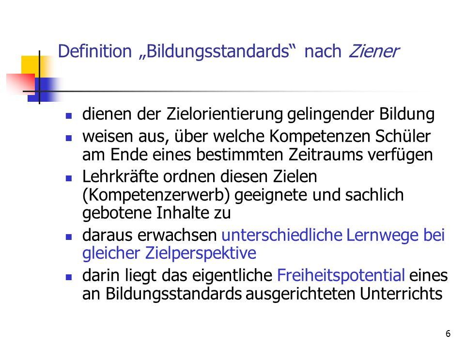 """Definition """"Bildungsstandards nach Ziener"""